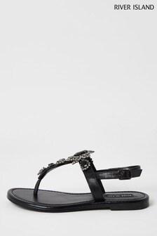 River Island Black Embellished Toe Thong Sandals