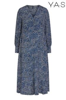 Y.A.S Blue Multi Spot Soffi Midi Dress