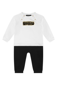 Baby Boys White/Black Cotton Romper
