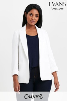 Evans Cream Curve Ribbed Blazer