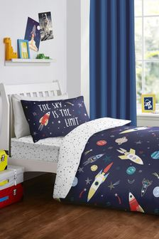 Bedlam White Glow In The Dark Space Duvet Cover and Pillowcase Set