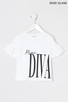 Biała koszulka z rękawem w trąbkę River Island Mini Diva