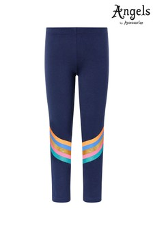 Angels by Accessorize Navy Glitter Stripe Leggings