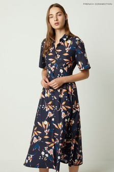 French Connection Blue Eliva Button Through Shirt Dress