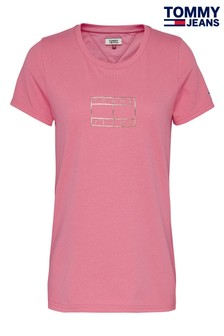 Tommy Jeans Pink Metallic Flag T-Shirt