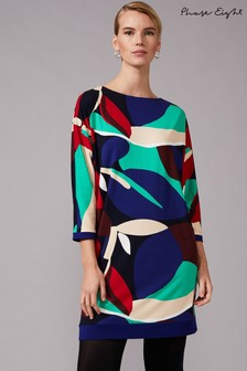 Phase Eight Blue Adalee Leaf Colur Block Print Dress