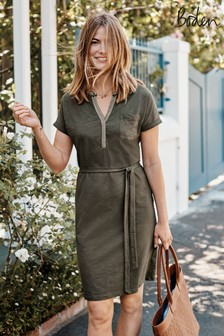 Boden Green Dora Embroidered Jersey Dress