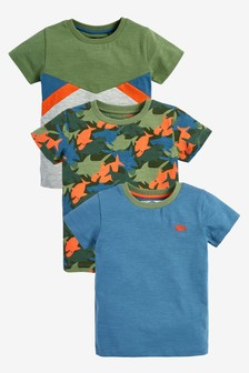3 Pack Camouflage Sharks T-Shirts (3mths-7yrs)