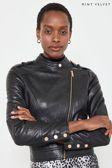Mint Velvet Black Zip Front Leather Jacket