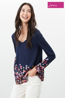 Joules Blue Harbour Light Swing V-Neck Jersey Top