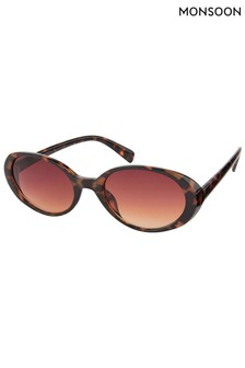 Monsoon Brown Oregan Oval Tortoiseshell Effect Sunglasses