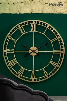 Antique Gold Metal Round Wall Clock by Pacific Lifestyle