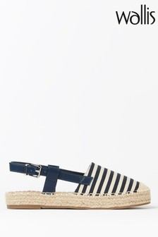 Wallis Blackberry Navy Thick Sole Espadrille Slingback Shoes