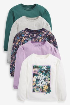5 Pack Floral Photographic T-Shirts (3-16yrs)