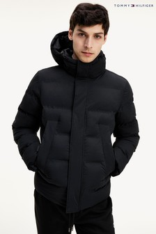 Tommy Hilfiger Black Hooded Stretch Bomber Jacket