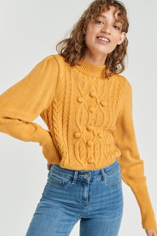 Pom Cable Volume Sleeve Jumper