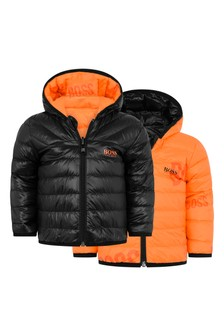 Baby Boys Black/Orange Reversible Padded Jacket