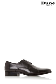 Dune London Shea Black Leather Smart Gibson Shoes