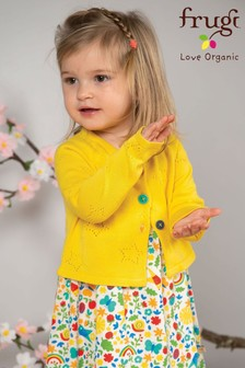 Frugi GOTS Knitted Cotton Cardigan With Contrast Buttons