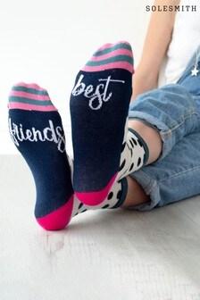 Best Friends Patterned Slogan Socks by Solesmith