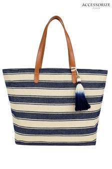 Accessorize Blue Nautical Stripe Beach Tote