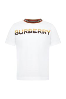 Burberry Kids Boys White Cotton T-Shirt