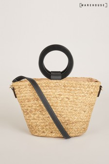 Warehouse Handle Detail Straw Tote