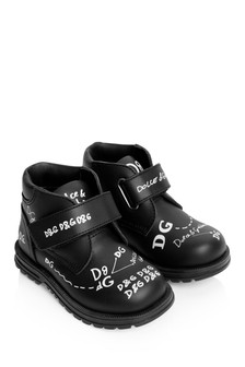 Boys Black Leather Lettering Booties