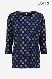 Esprit Womens Blue Long Sleeved T-Shirt With Print