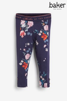 Baker By Ted Baker Navy Floral Panelled Leggings
