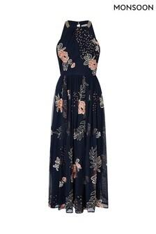 Monsoon Blue Ellen Sustainable Embroidered Midi Dress