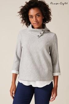 Phase Eight Grey Mica Roll Neck Jacquard Top