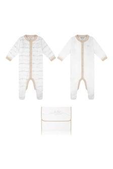 White/Beige Cotton Logo Babygrow Set