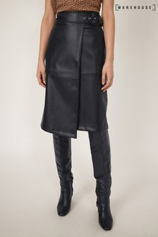 Warehouse Faux Leather Midi Pencil Skirt