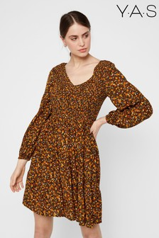 Y.A.S Black Yellow Floral Puff Sleeve Mini Dress
