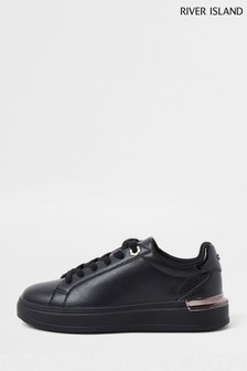 River Island Black Chunky Flat Lace Up Trainers