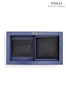 Polo Ralph Lauren Black Smooth Leather Billfold Wallet Card Holder Set