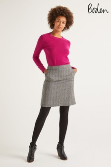Boden Grey British Tweed Mini Skirt