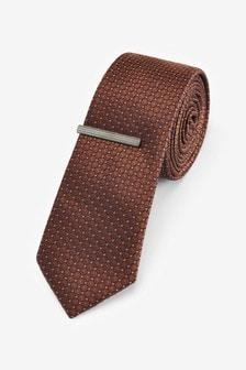 Geometric Tie With Tie Clip