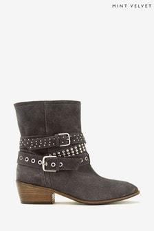 Mint Velvet Grey Elsa Biker Boots
