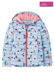 Joules - Blauwe Kinnaird Posey opvouwbare jas met print