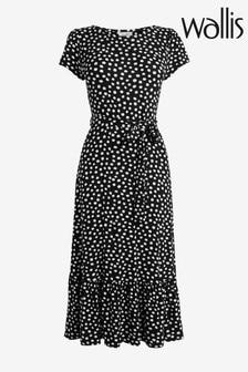 Wallis Black Spot Tiered Midi Dress
