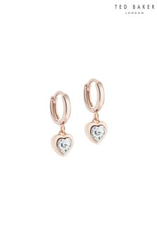 Ted Baker Pink Hanniy: Crystal Heart Huggie Earrings
