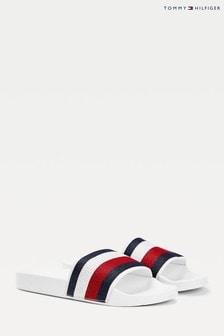 Tommy Hilfiger White Shimmery Ribbon Pool Slides