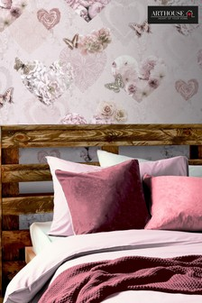 Arthouse Pink Floral Hearts Wallpaper