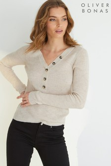 Oliver Bonas Cream Dante Oatmeal Ribbed Knitted Top