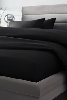 Black 300 Thread Count Collection Luxe Deep Fitted 100% Cotton Sheet