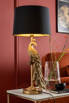 Black/Gold Peacock Table Lamp