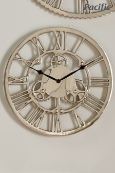 Shiny Nickel Cog Design Small Round Wall Clock by Pacific Lifestyle