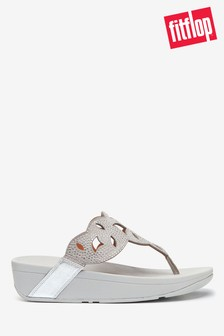 FitFlop™ Silver Elora Laser Hotfix Toe Post Sandals